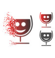 decomposed dot halftone happy glass wine icon vector image vector image