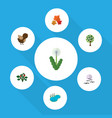 flat icon nature set of bird pond floral and vector image vector image