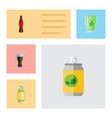 flat icon soda set of fizzy drink drink cup and vector image vector image