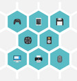 flat icons cooler computer mouse display and vector image vector image