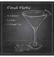 French Martini cocktail on black board vector image vector image