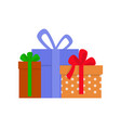 gift boxes in wrapping with ribbons and bows vector image