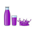 glass bottle of purple fruit juice splash vector image