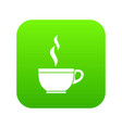 glass cup of tea icon digital green vector image vector image