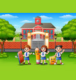 happy school children holding stationery in front vector image vector image