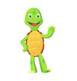 happy young cartoon turtle rised hand up fanny vector image vector image