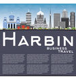 Harbin Skyline with Gray Buildings vector image vector image