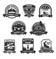 hunting club adventure icons or badges set