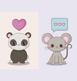 kawaii animals and love design vector image vector image