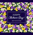 Mother day card with blooming spring flower frame