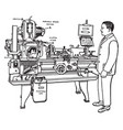 motorized lathe vintage vector image vector image