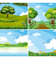 Nature scene with field and lake vector image vector image