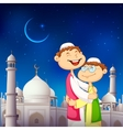 People hugging and wishing Eid Mubarak vector image vector image