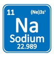 periodic table element sodium icon vector image vector image