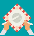 plate knife and fork with hands vector image