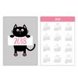 pocket calendar 2018 year week starts sunday vector image vector image