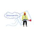 repairman holding screw wrench plumber man wearing vector image