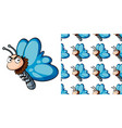 seamless background design with blue butterfly vector image vector image