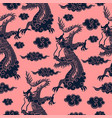 seamless pattern with chinese dragon in blue vector image