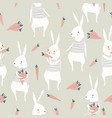 seamless pattern with cute rabbits and carrots vector image vector image