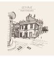 sepia hand drawing of Cetinje street - ancient vector image