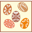 Set of six Easter eggs with with ornaments vector image