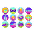 Set of stylized summer objects abstract