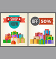 shop now hot prices half discount off promo labels vector image vector image