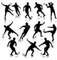 Soccer man silhouette set eps10 vector image vector image