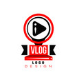 trendy logo with play button in circles original vector image vector image