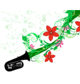 tuba with floral border vector image