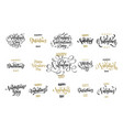 valentine day greeting card calligraphy golden vector image