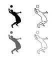 volleyball player hits the ball with top vector image vector image