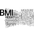 what is bmi the truth revealed text word cloud vector image vector image