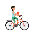 young beautiful woman riding bicycle with book in vector image vector image