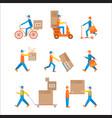 delivery man set color vector image