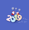 2019 happy new year design card with santa and pig vector image vector image