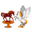 a set two statues graceful horses isolated vector image vector image