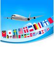 Airplane travel background with flags of different vector image vector image