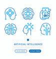 artificial intelligence thin line icons set vector image