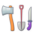 axe shovel knife icon cartoon style vector image vector image