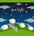 background scene field with counting sheeps vector image