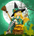 Beautiful young witch with a book and broom vector | Price: 5 Credits (USD $5)