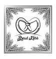 bread fresh pretzel vintage frame wheat decoration vector image