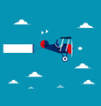businesswoman drive airplane concept business vector image