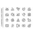 camping line icons set isolated on white vector image