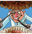 cartoon dentist with tools looks into the open vector image vector image