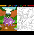 cartoon styracosaurus coloring book vector image vector image