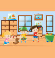 children playing toys inside the room vector image vector image