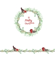 Christmas template with bullfinches and white vector image vector image